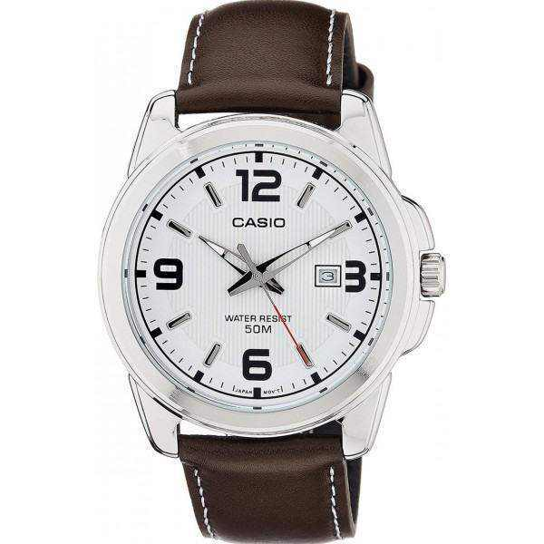 Casio Men's White Dial Leather Band Watch - MTP-1314L-7AVDF